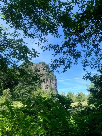 Coming up on Beacon Rock along the River-To-Rock Trail