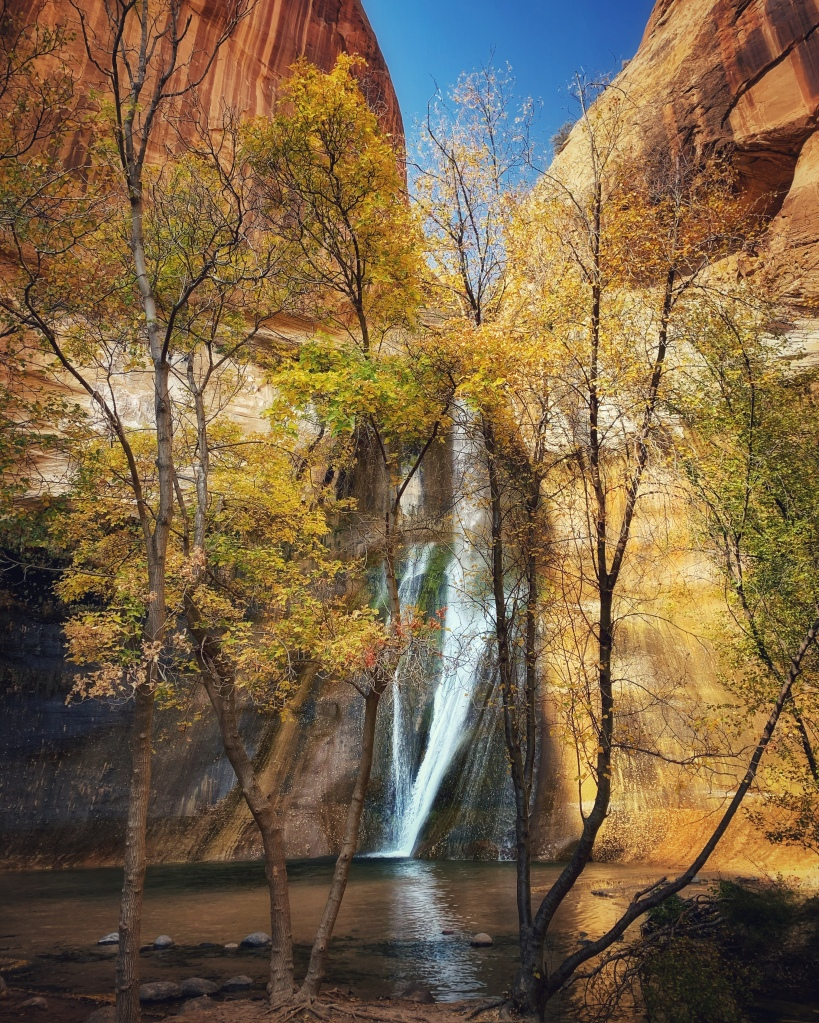 Desert waterfall peeking through autumn trees