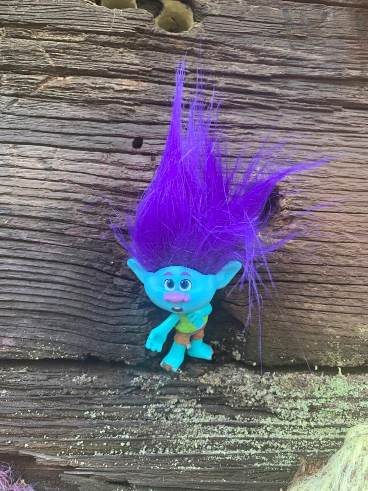 Blue and purple troll on Portland Troll Bridge