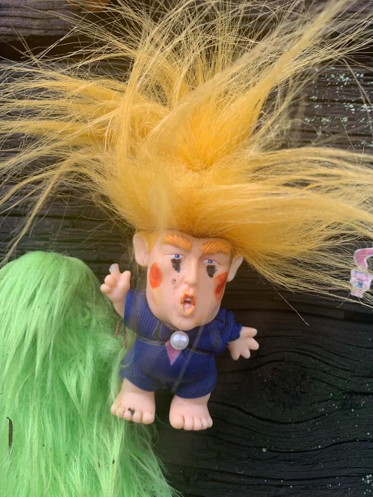 Donald trump troll toy pinned to Portland Troll Bridge