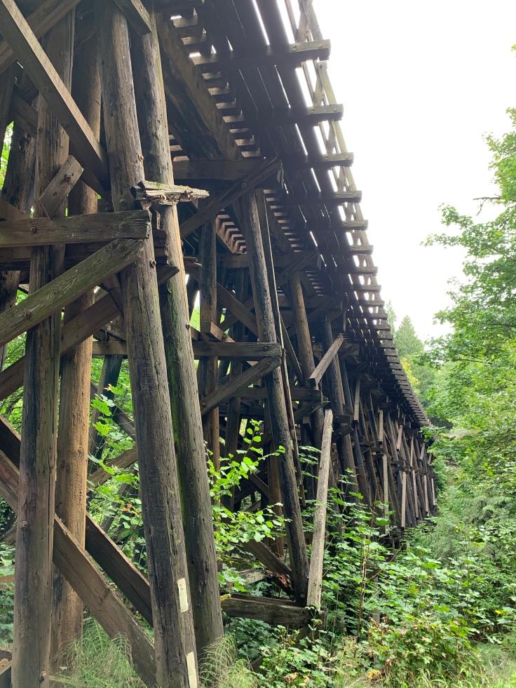 Wooden railroad trestle