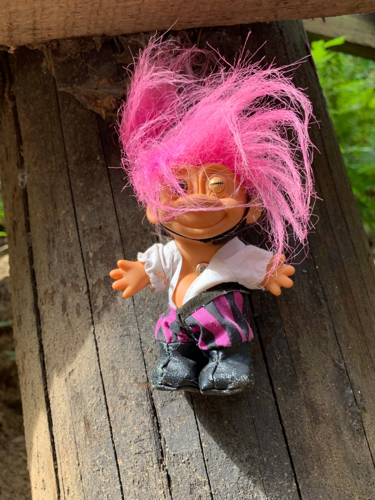 Rock star troll toy with pink hair