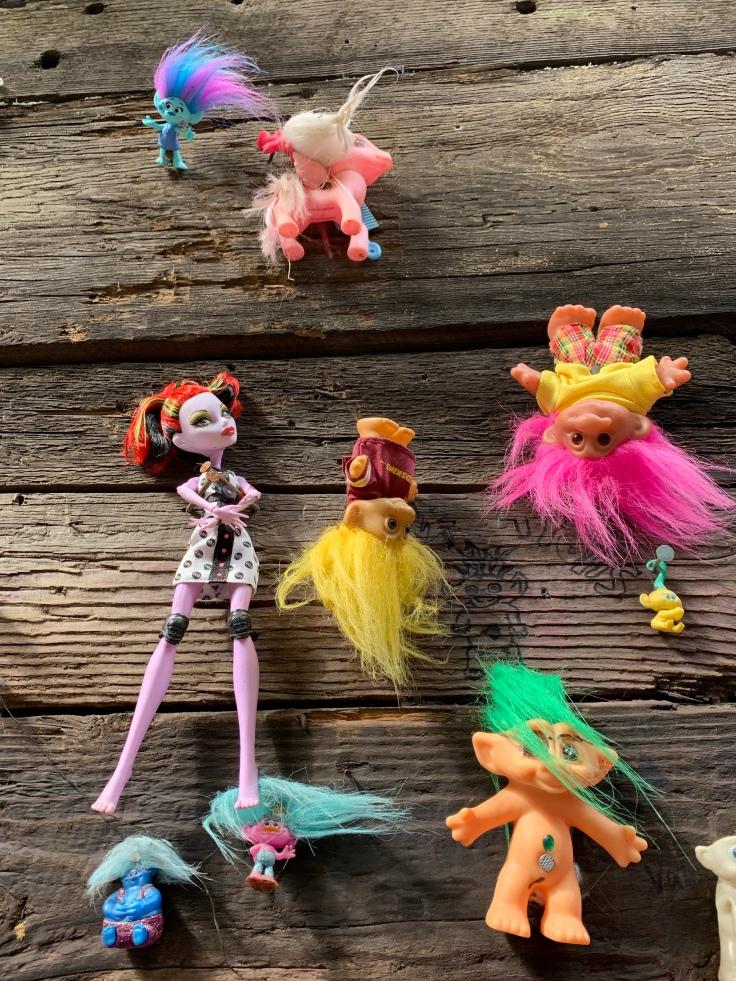 Troll dolls on Portland troll bridge