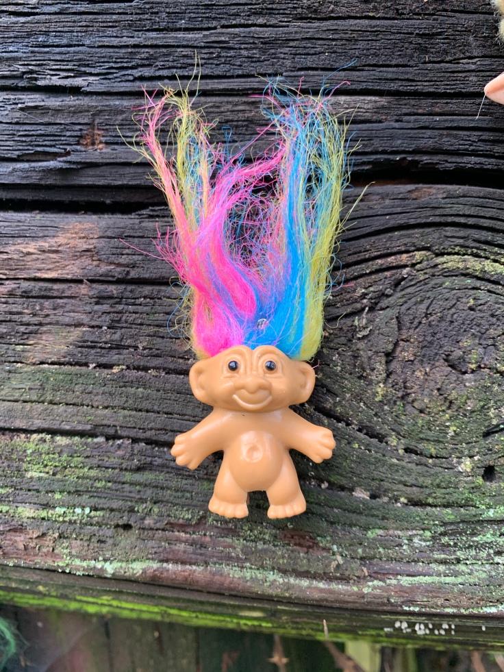 Troll doll with rainbow hair