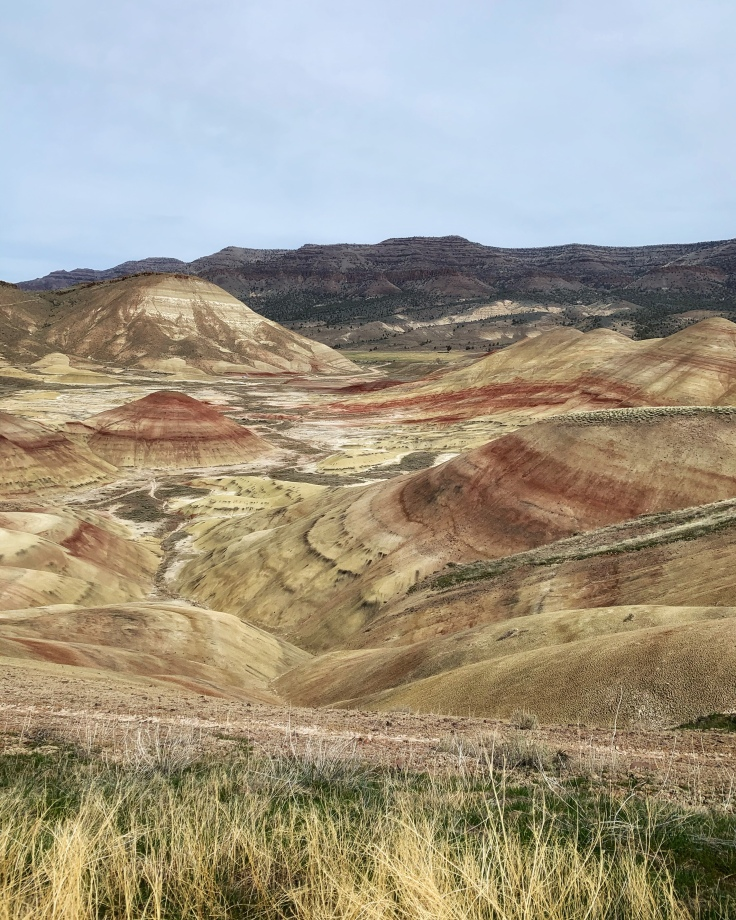 red yellow and brown striped hills